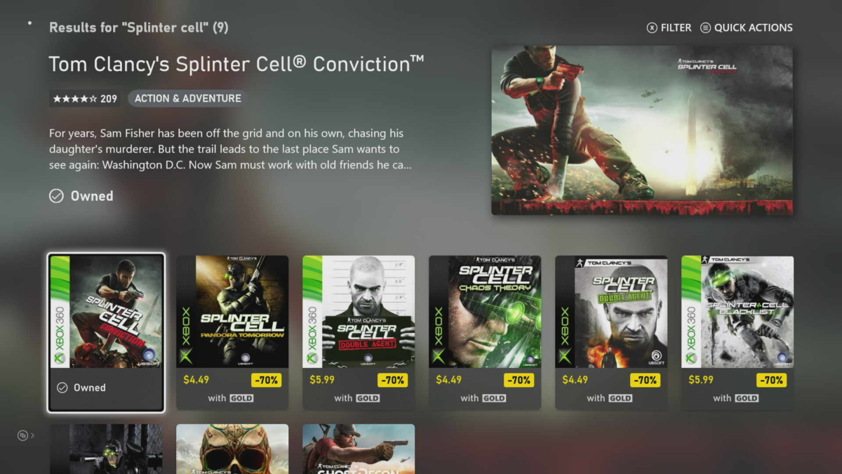 There's a Splinter Cell sale on the Xbox Store