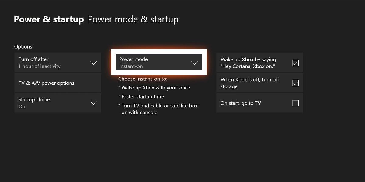Xbox One Energy Saving Mode